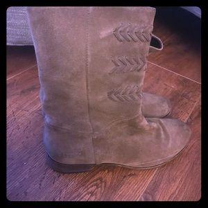 UGG Brown Suede Zip Up Mid Calf Boots Woman's 9